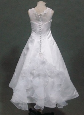 long white A-line organza preteen dress