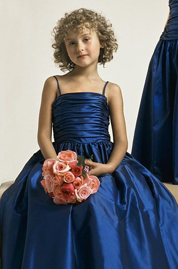 blue flower girl pageant dresses