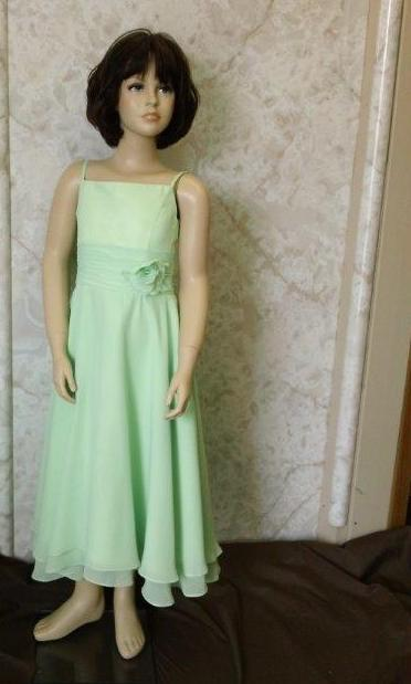 short green flower girl dress
