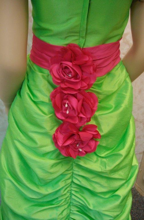lime dress with hot pink sash child size 9