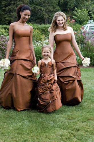 Pick Up Strapless Floor Length Taffeta Bridesmaid Dress