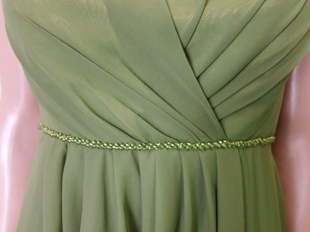 Olive green chiffon bridesmaid dresses.