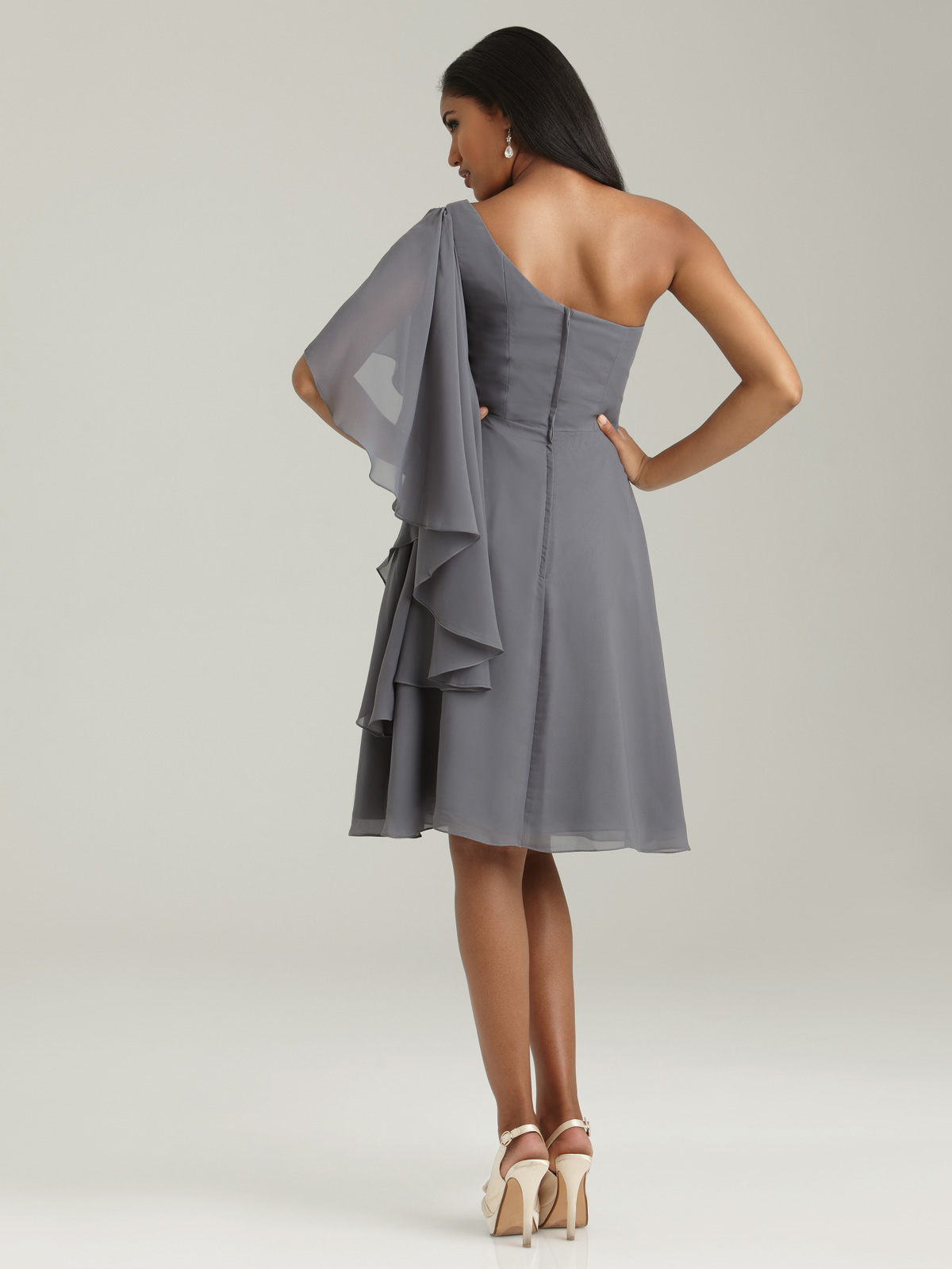 One sleeve dress bridesmaid dress one asymmetrical draped sleeve bridesmaid dress ombrellifo Image collections