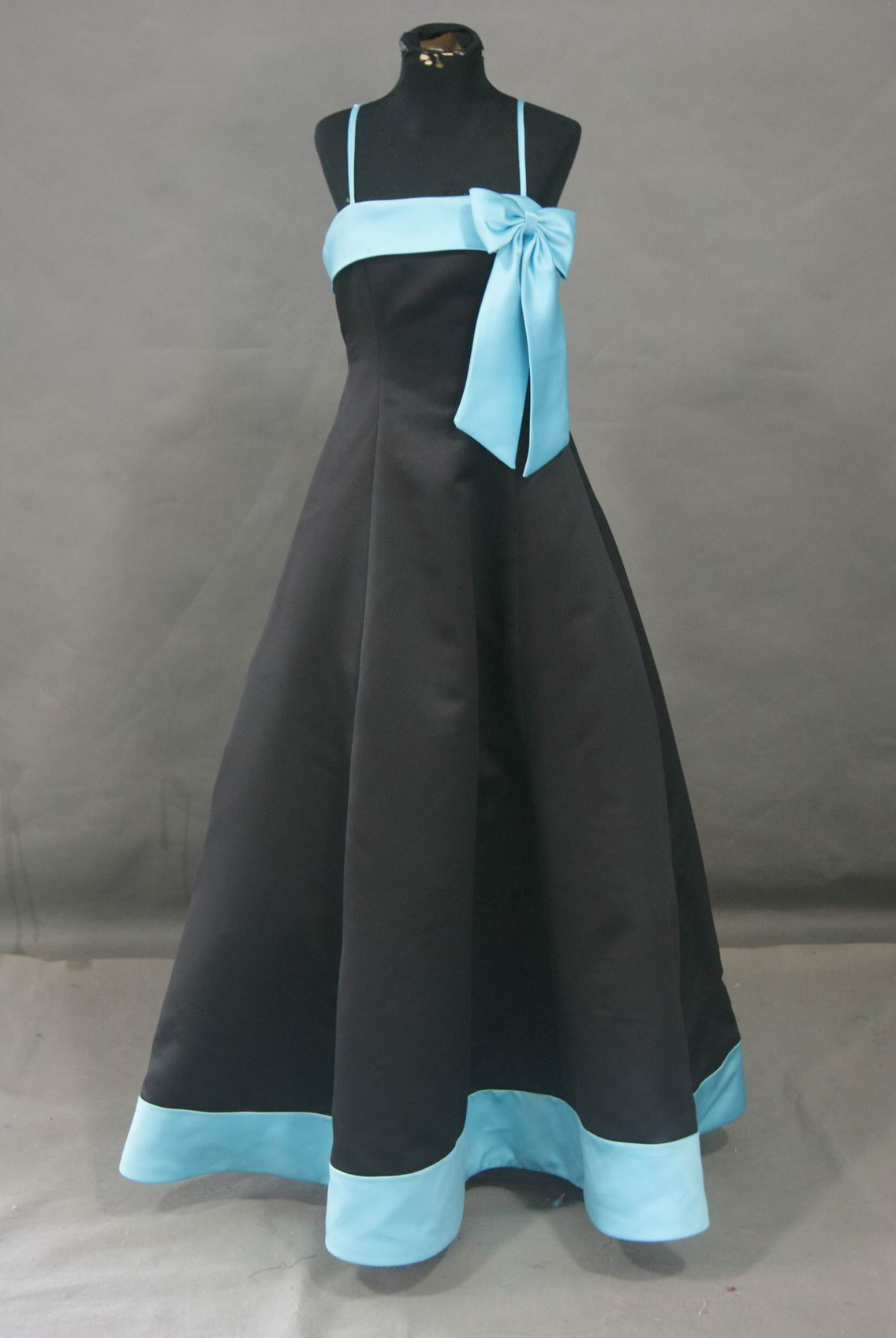 Turquoise And Black Flower Girl Dress