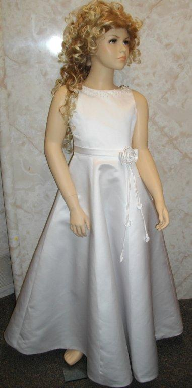 White Satin beaded long formal gown