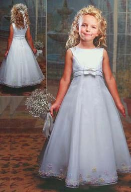 Girls White Portrait Dresses.