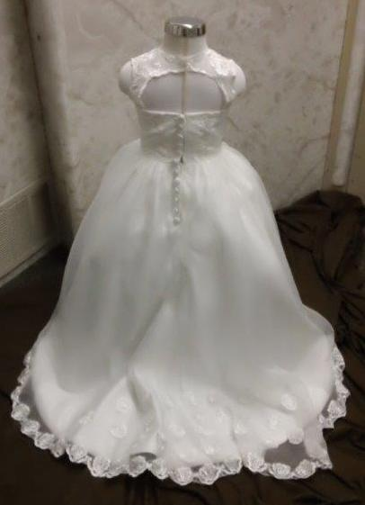 Bridal Gown With Matching Flower Girl Dress With Train