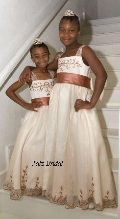 ivory dresses with copper penny trim