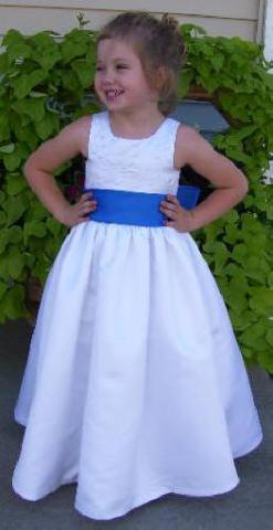 white with blue sash