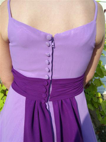 Lavender Chiffon covered buttons on back