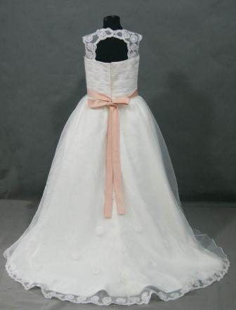 Bridal gown with matching Flower girl dress with train.