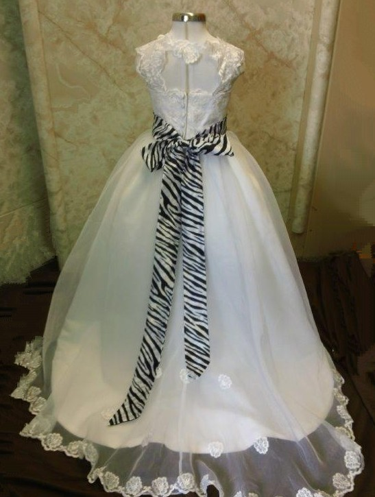 white leopard print wedding dress