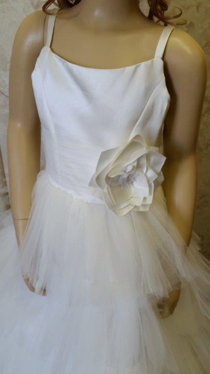 ivory mutli layered flower girl dress