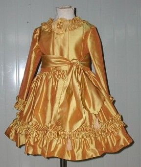 Long sleeve childrens gold dress