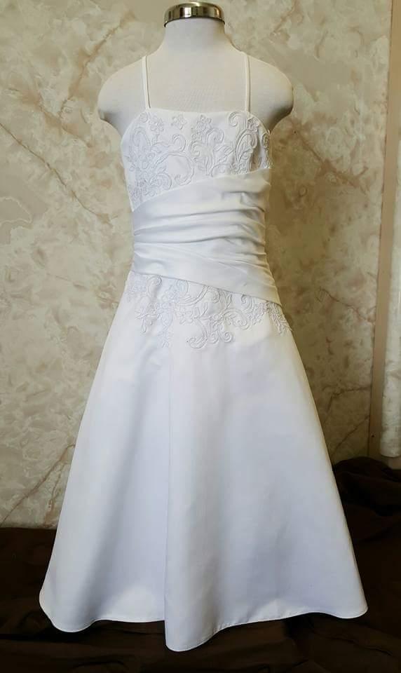 Long White Formal Girls Dress