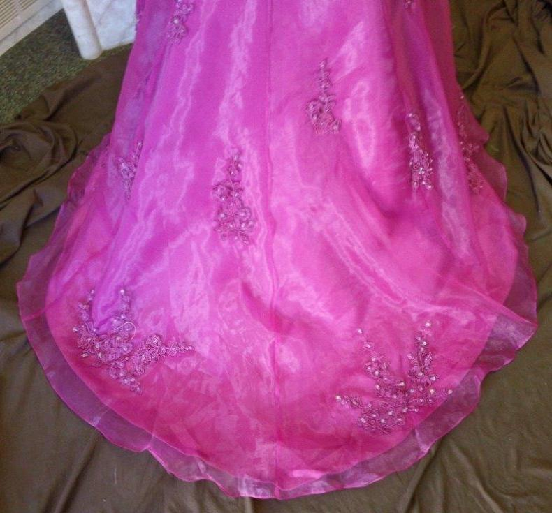 Dark fuschia prom dress with see through corset
