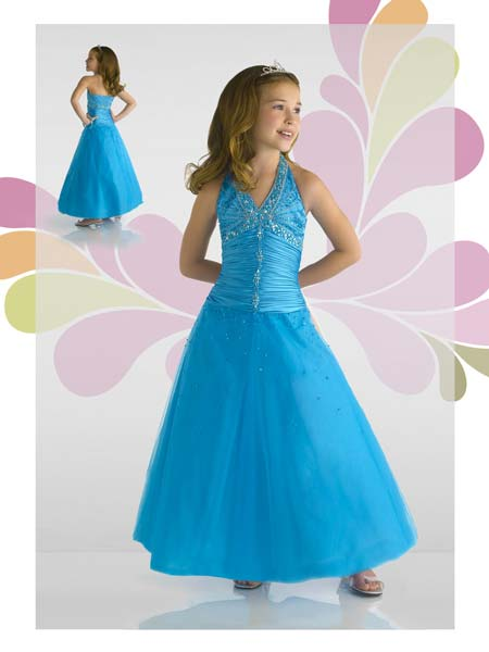 cobalt blue little girls halter pageant dress