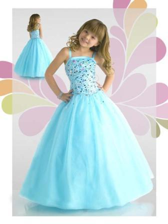 Aqua little girl pageant sequin dress