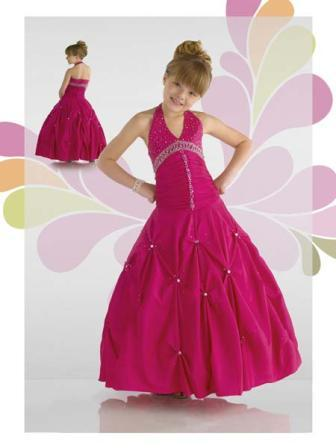 Ball gown halter pageant dress for little girls pageant