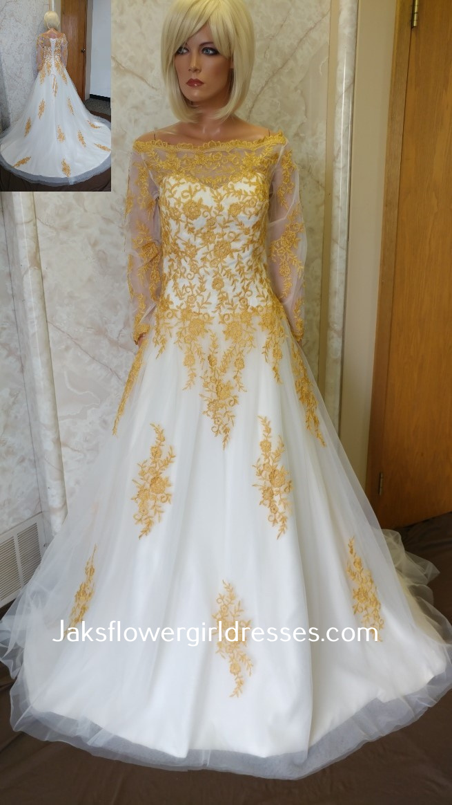 Wedding Gown with Gold Lace.
