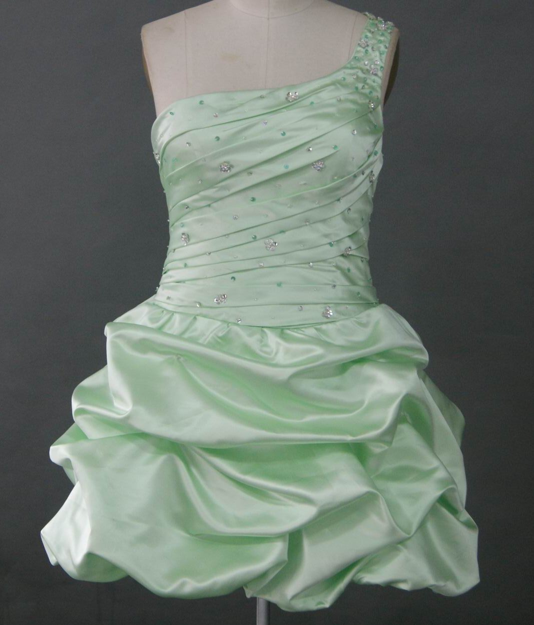 Bridesmaid dress in honeydew green