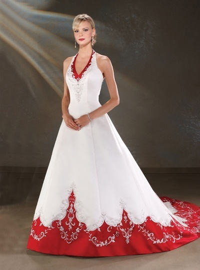 white halter wedding dress accented with red trim
