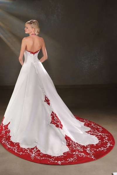 White Wedding Dresses With Red Trim : Red and white halter top wedding dress