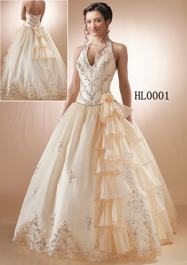 halter wedding gown and Hispanic quinceanera gowns