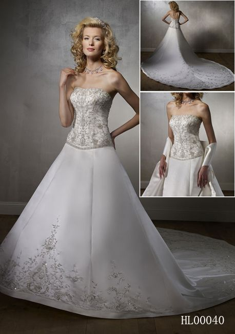 Strapless Wedding Dress with Embroidered Bodice