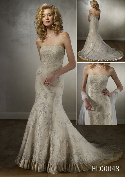 A-line fit and flare Bridal gown.