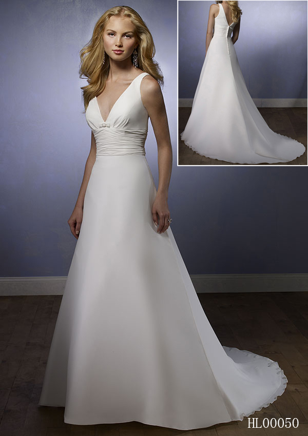 V-Neck A-Line Chiffon Wedding Dresses