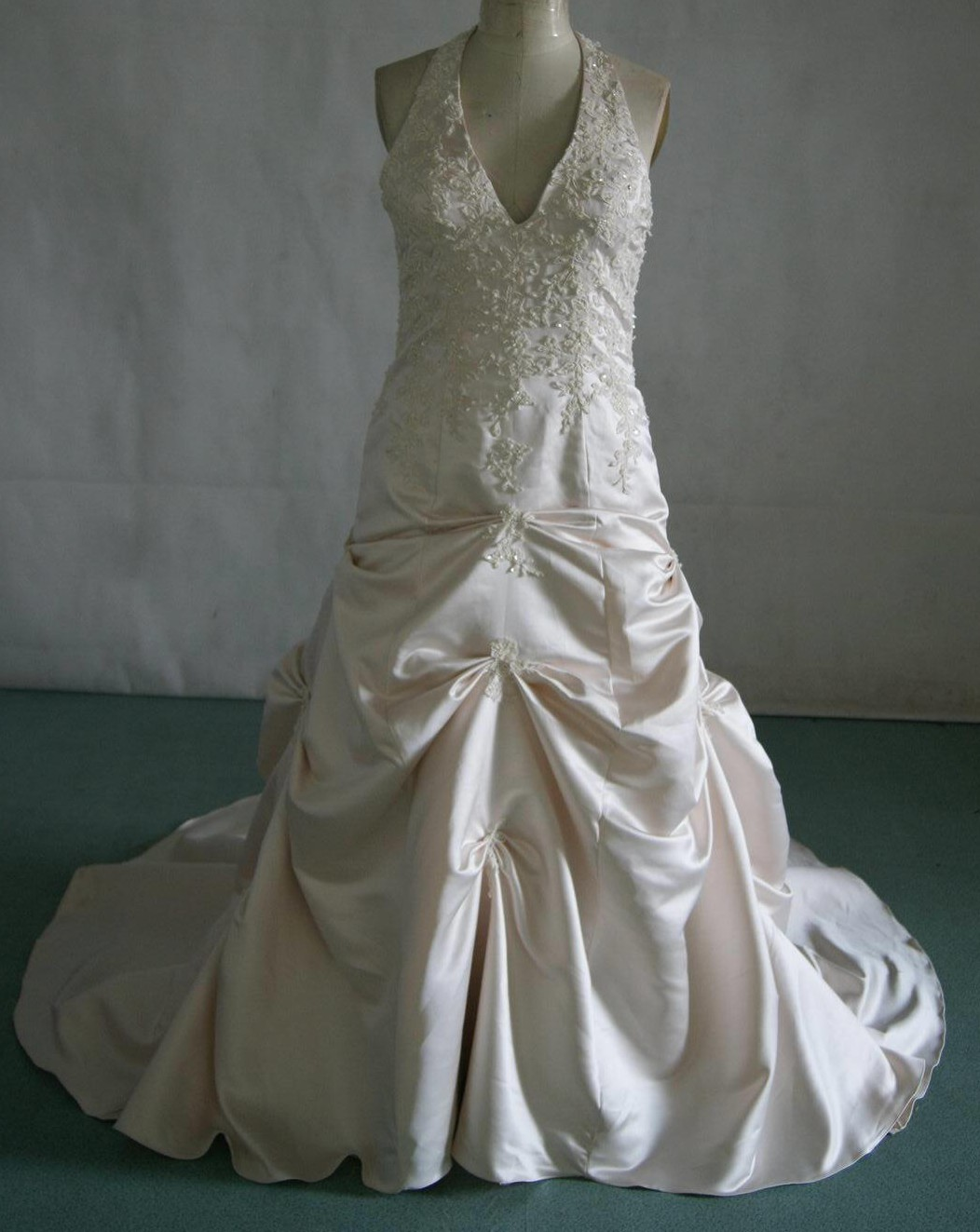 Light Champagne satin halter wedding gown