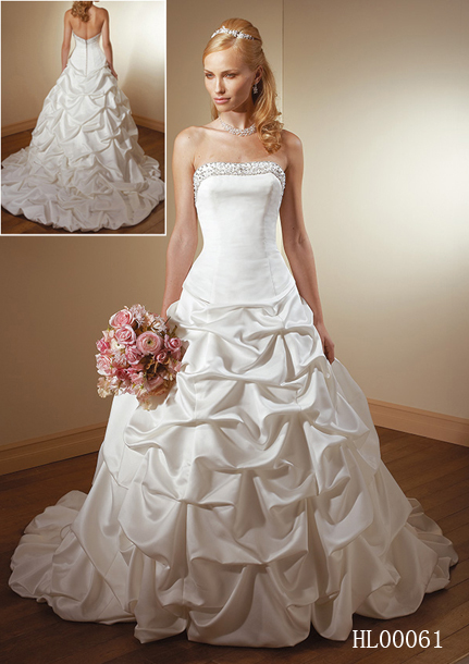 wedding dress with pick up style skirt