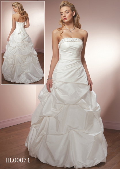 strapless pick up wedding gown