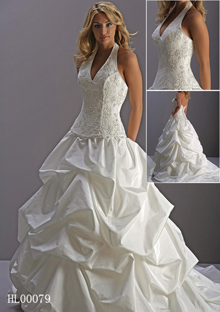 halter pick up wedding gown