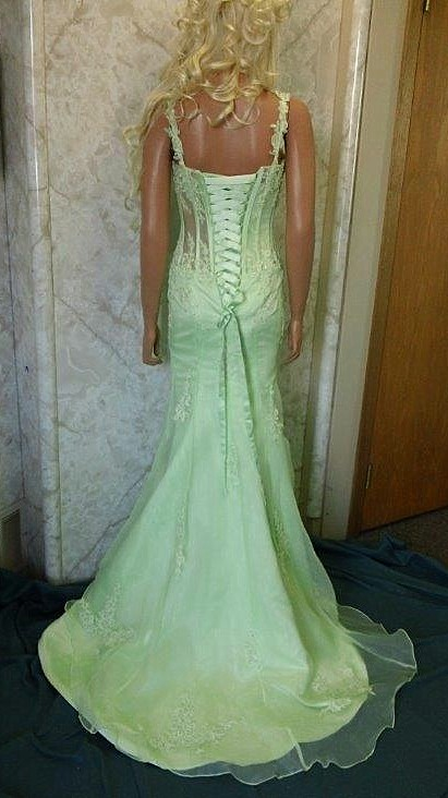 honey dew green see thru prom dress