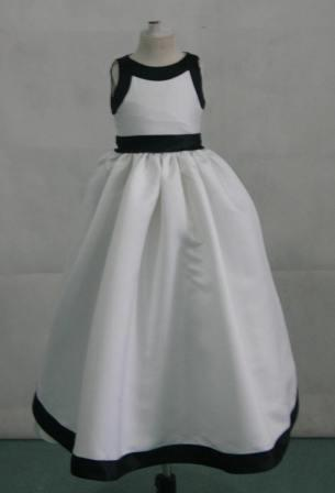 Halter black and white flower girl dress- junior dress.