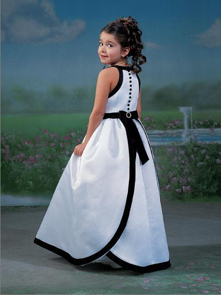 halter black and white flower girl dress