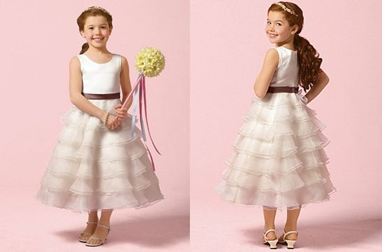 girls layered tea length dress