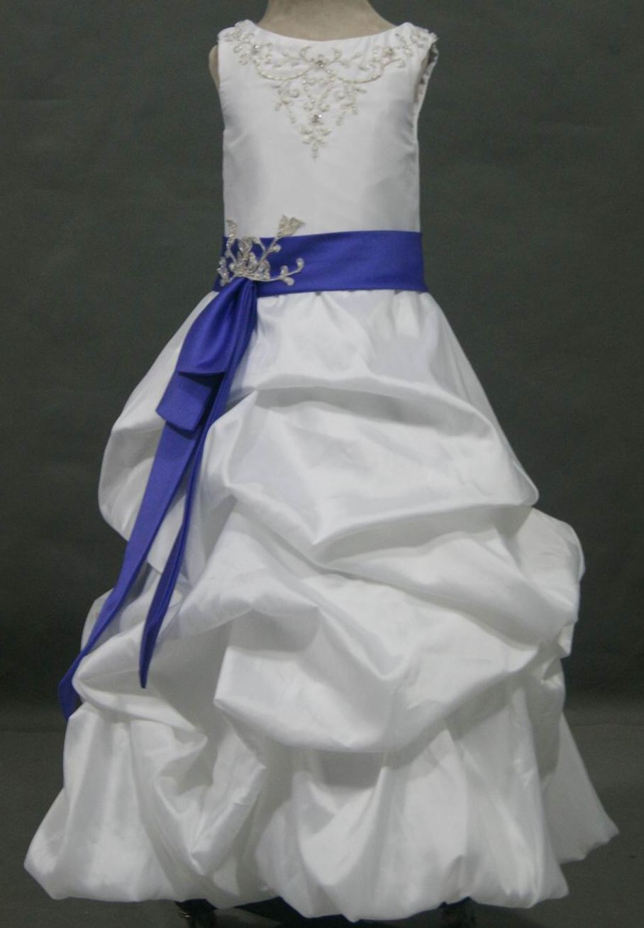 Girls taffeta and lace pickup dress girls taffeta and lace pickup dress white with purple sash mightylinksfo