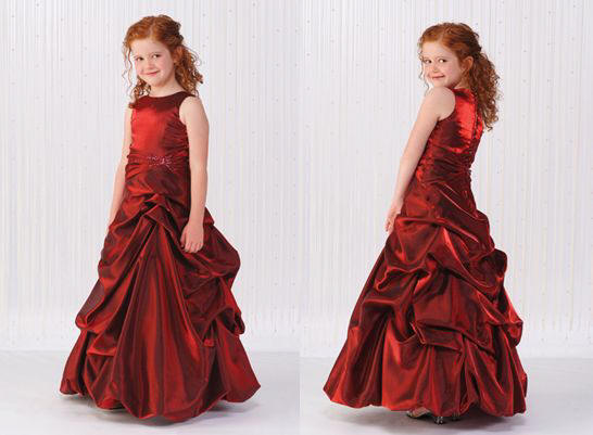girls red pick up dress