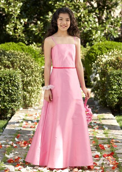 long pink taffeta flower girl dress