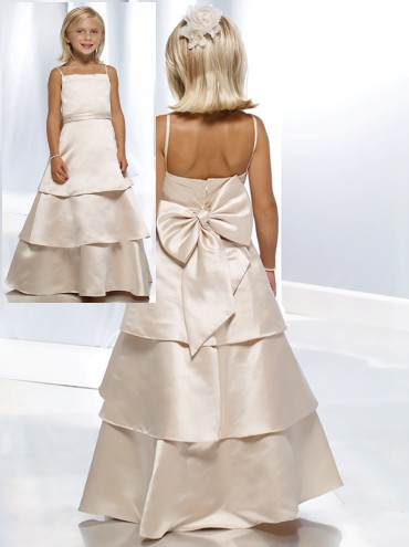 taffeta long tiered flower girl dress with back bow