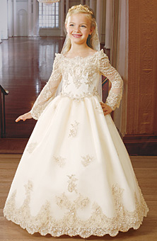 Long sleeve flower girl dress with scalloped lace.