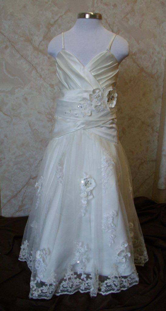 eb7cf77ca57 sequin strap miniature bridal gown · A-line · little bride · Embellished  lace with floral petal flower girl bride ...