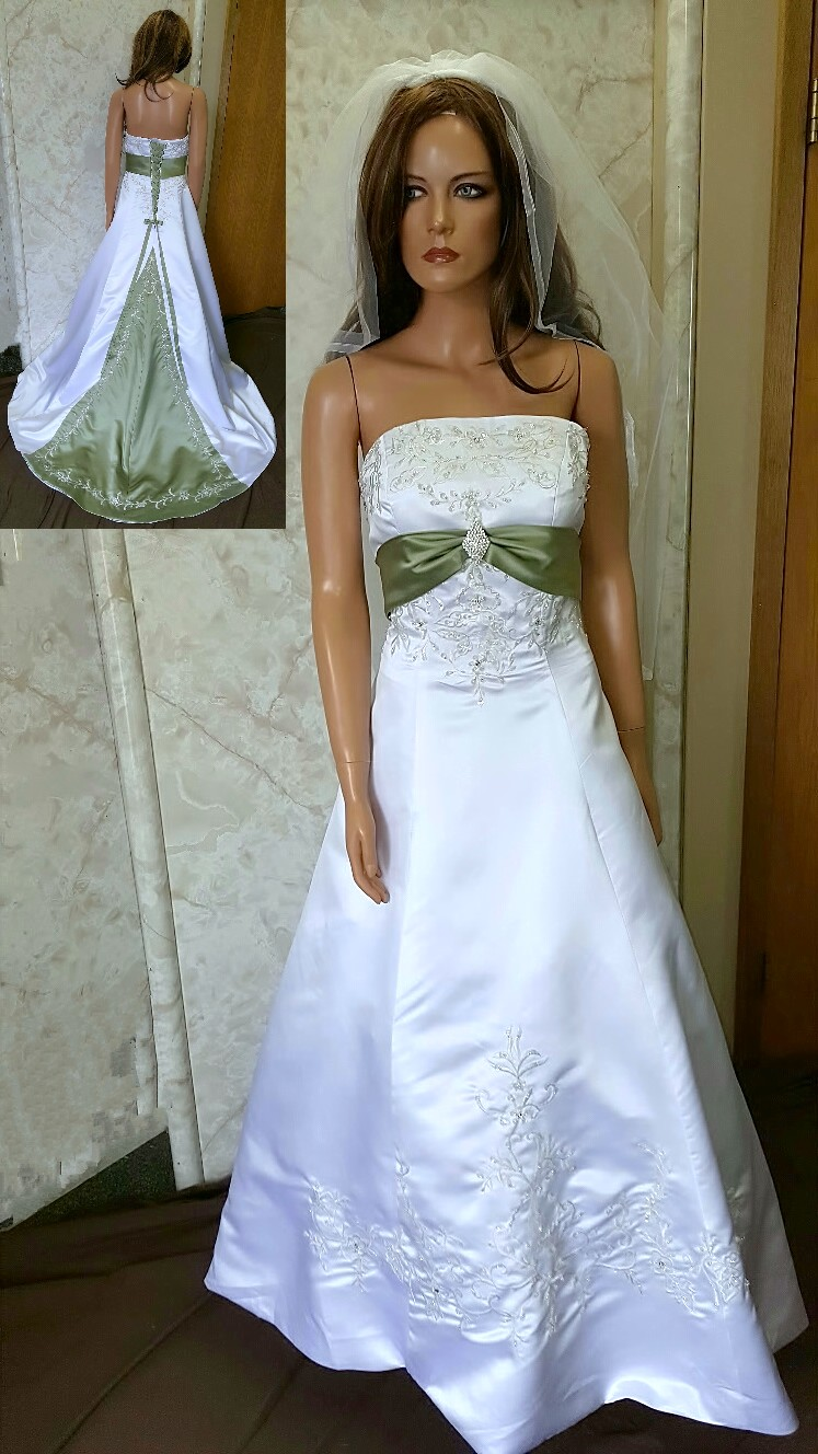 Colorful bridal gowns color accents bridal gown ivory and sage wedding dresses silver and green ombrellifo Gallery