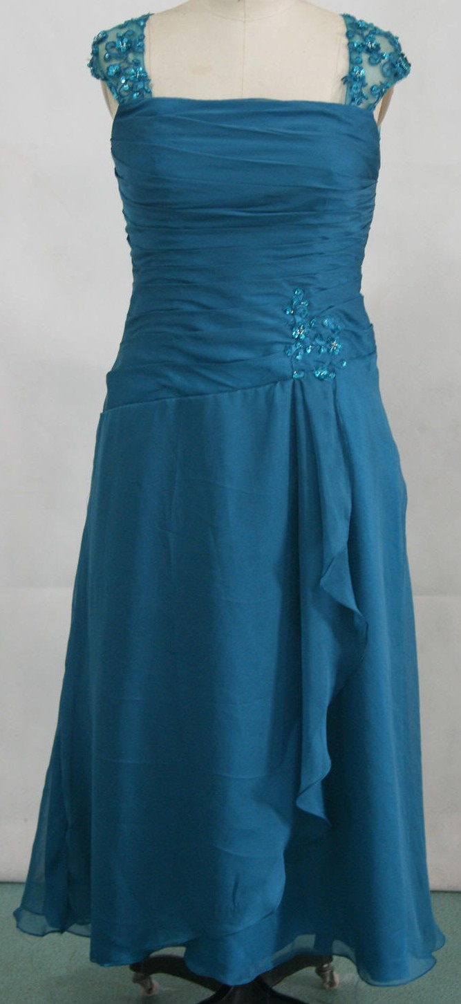 turquoise blue chiffon mothers dress