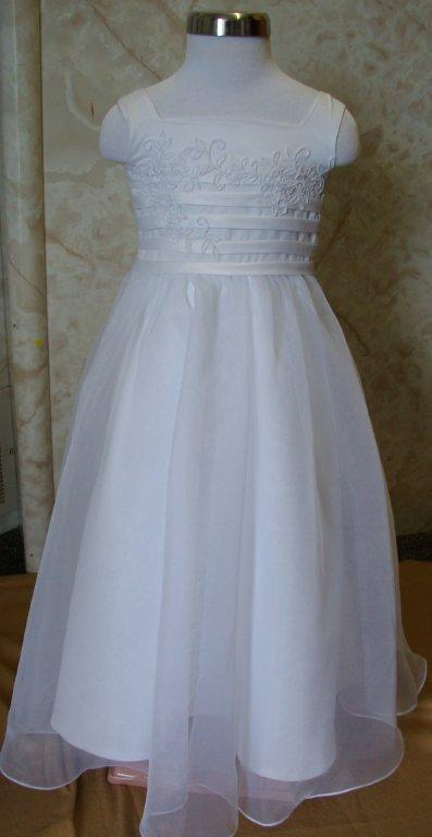 Bridal Organza With Banded Trim and Appliques