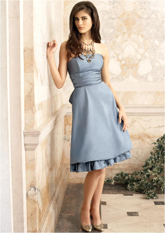 knee length blue bridesmaid dresses