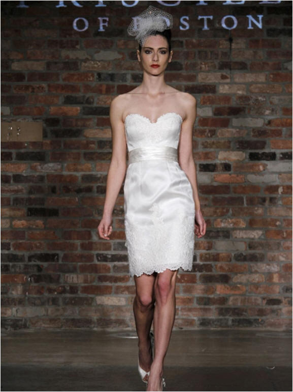 short sweetheart pencil skirt wedding gown